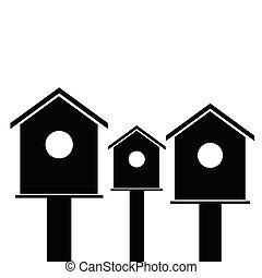 birdhouses wooden black vector - birdhouses wooden set black...