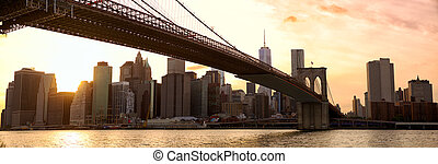 New York panorama at sunset - Manhattan skyline panorama and...