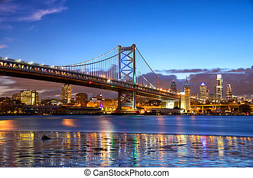 Philadelphia skyline and Ben Franklin Bridge at dusk, US