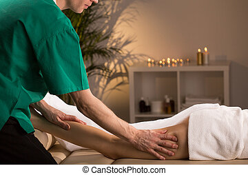 Anti-cellulite smoothing massage - Woman having smoothing...