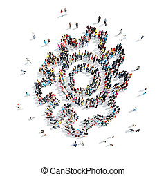 people in the shape of gears - A group of people in the...