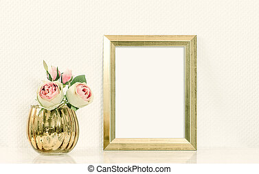 Picture mockup with golden frame amd flowers Vintage style...