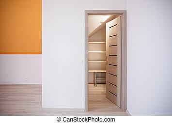Space for storage in attic - Storage idea for attic bedroom...