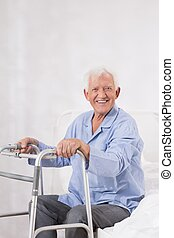 Happy patient with zimmer - Photo of happy patient after...