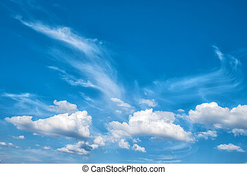 Dramatic cloudy blue sky. Beautiful nature background