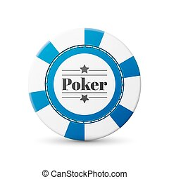 Casino chip - single blue casino chip isolated on white...