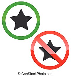 Star permission signs set - Allowed and forbidden signs with...