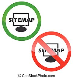 Sitemap permission signs set - Allowed and forbidden signs...