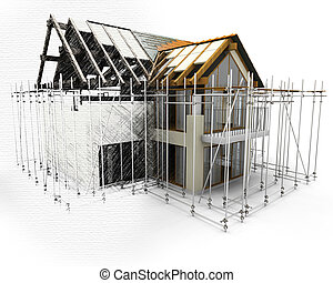 3D render of a house with scaffolding with half in sketch phase