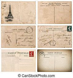 Antique french postcard with stamp from Paris. Scrapbook...