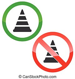 Traffic cone permission signs set - Allowed and forbidden...