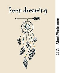 Card with native Indian-American dreamcatcher hanging on...