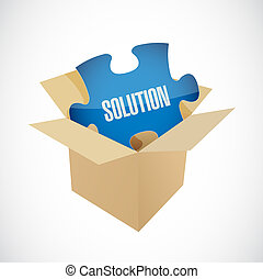 solution puzzle piece inside box illustration design graphic