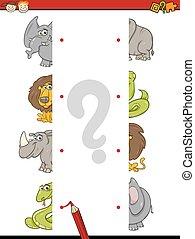 task of halves for children - Cartoon Illustration of...
