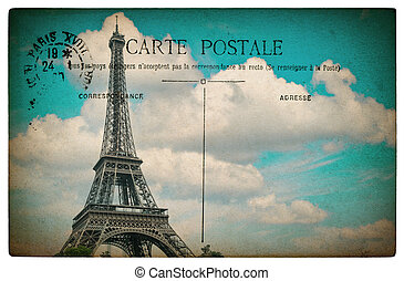 French postcard from Paris with landmark Eiffel Tower and blue sky