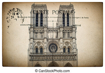 French postcard from Paris with landmark Notre Dame