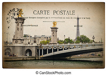 French postcard from Paris with landmark bridge Pont Alexandre