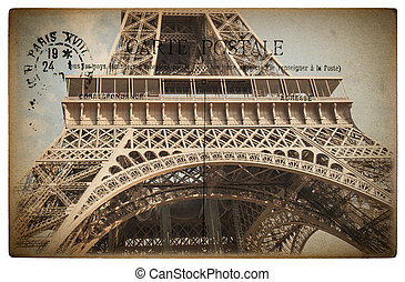 French postcard from Paris with landmark Eiffel Tower