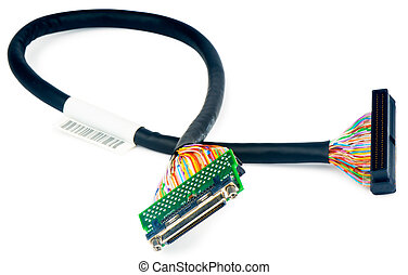 SCSI data cable with connectors over white background