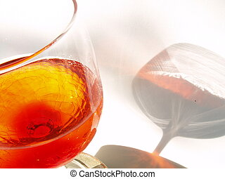 Wine Reflection - Wineglass against white canvas background...