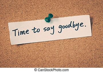 tiempo, a, decir, adiós,