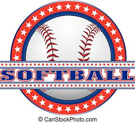 Softball Design - Red White and Blue is an illustration of a...