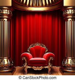 red velvet curtains, gold columns and chair made in 3d