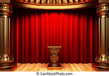 red velvet curtains, gold columns and Pedestal made in 3d
