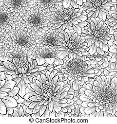 set of seamless pattern with flower - set of beautiful...