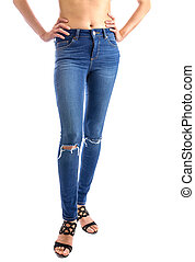 Jeans, Woman waist wearing jeans. Weight loss stomach...
