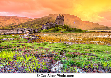 Eilean Donan Castle at sunset, Dornie, Kyle of Lochalsh in...