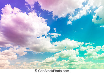 Colorful Cloud in blue sky ( Filtered image processed...