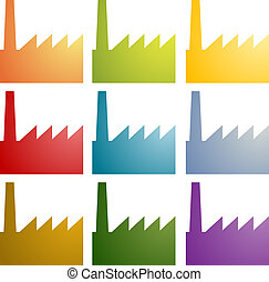Factory icons clipart set - Icon multicolored set of factory...