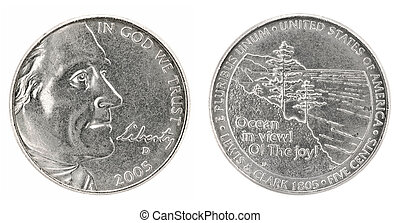 Five cents - United States money. Five cents coin (2005)....