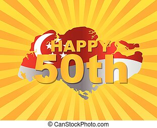 Singapore 50th Flag in Map Silhouette Illustration -...