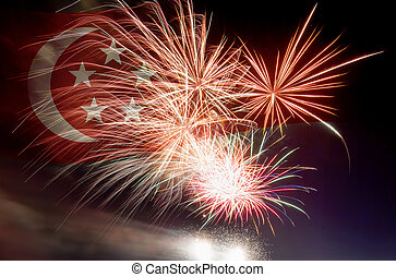 Singapore Flag with Fireworks - Republic of Singapore Flag...