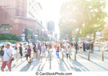 Blur people at orchard road in singapore - sunflare effect...