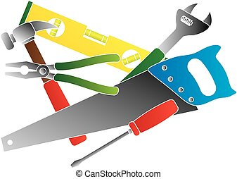 Construction Tools Colors Illustration - Construction...