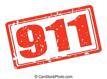 911 red stamp text on white