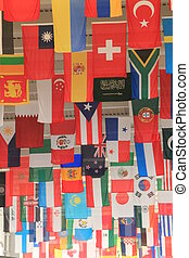 Flags from around the World hanging from the ceiling...