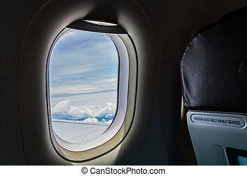 Airplane window ( Filtered image processed vintage effect. )...
