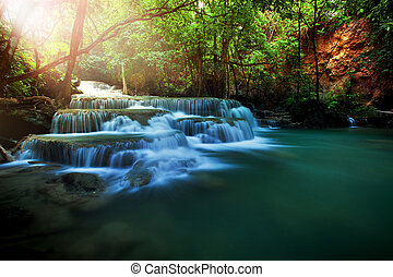 huay mae kamin water falls in deep forest of kanchanaburi...