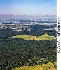 aerial of Rhein-Main area in Hesse, Germany