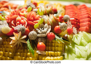Assorted fruits, set for wedding dinner party