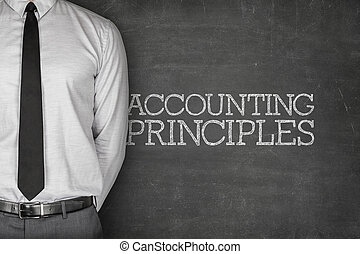 Accounting Principles on blackboard with businessman on side