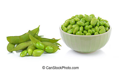 soybeans on white background