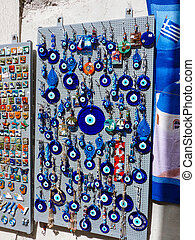 Traditional greek evil eye lucky charm in Santorini island,...