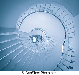 A low angle view of a spiral staircase - View of spiral...