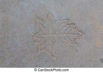 leaf on cement texture