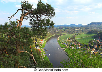 Saxon Switzerland - Panoramic view to Saxon Switzerland from...